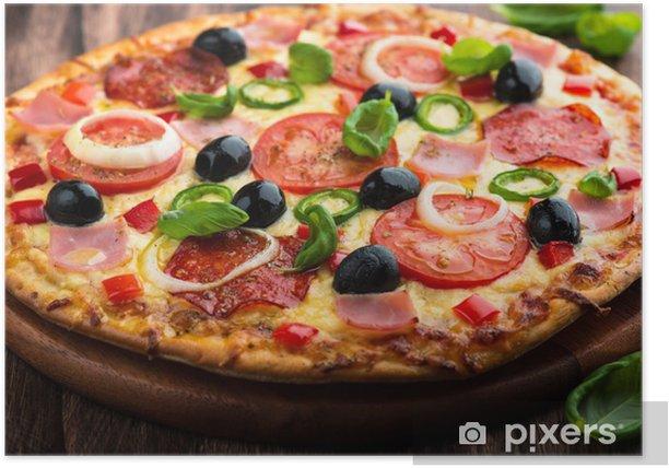 Plakat Pizza z Pepper Salami, pomidor i Chili - Fast Food