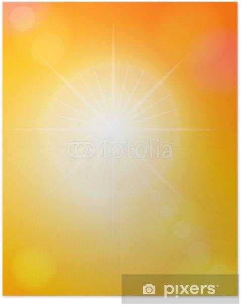Plakat Plam i pomarańczowe niebo - Niebo