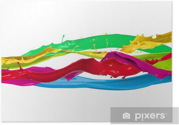 Plakat Plamy kolorowe farby na białym tle - Abstrakcja
