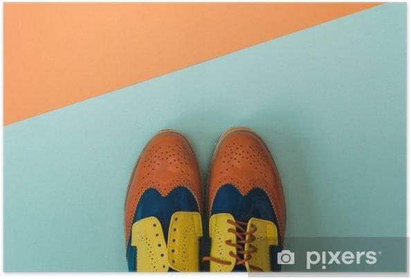 Plakat Płaski lay zestaw mody: kolorowe vintage buty na kolorowym tle. Widok z góry. - Styl życia