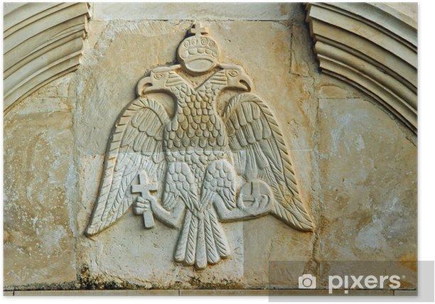 Plakát Płaskorzeźba z herbem w prawosławnym klasztorze - Náboženství