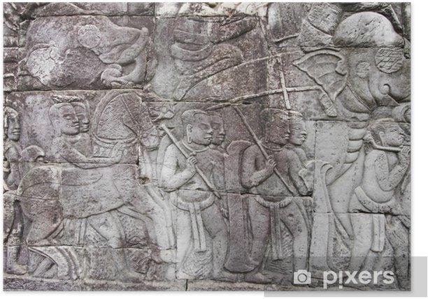 Plakat Płaskorzeźby ze scenami z wojny do Angkor - Azja