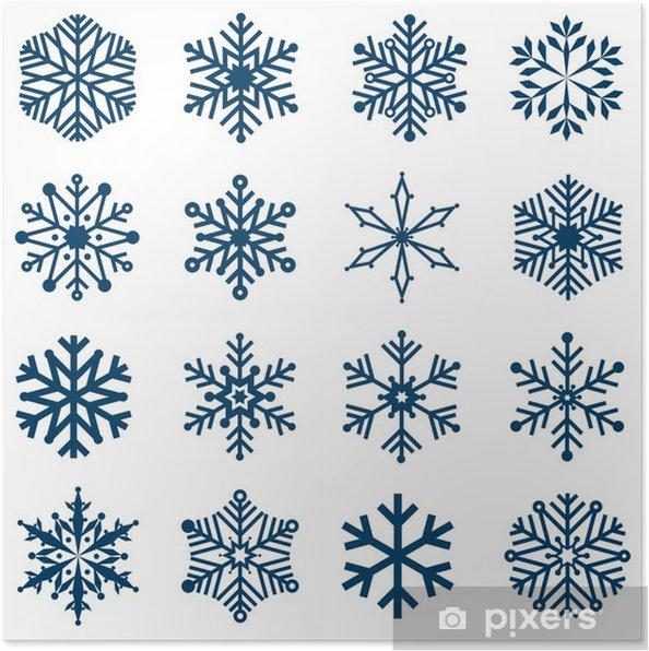 Plakat Płatki śniegu Wektor