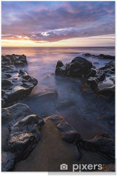 Plakat Plaża stawu soli o zachodzie słońca - Reunion - Woda