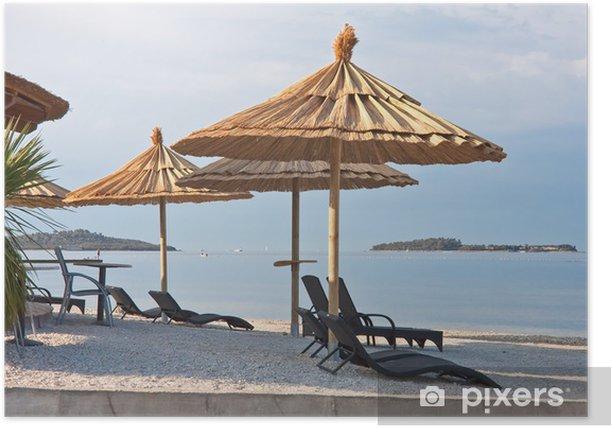 Plakat Plaża we wczesnych godzinach porannych. Istria, Fazana, Chorwacja - Europa