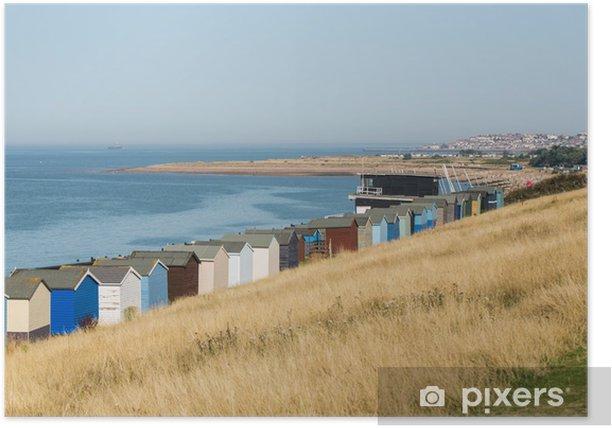 Plakat Plaży domków wzdłuż wybrzeża w hrabstwie Kent - Budynki prywatne