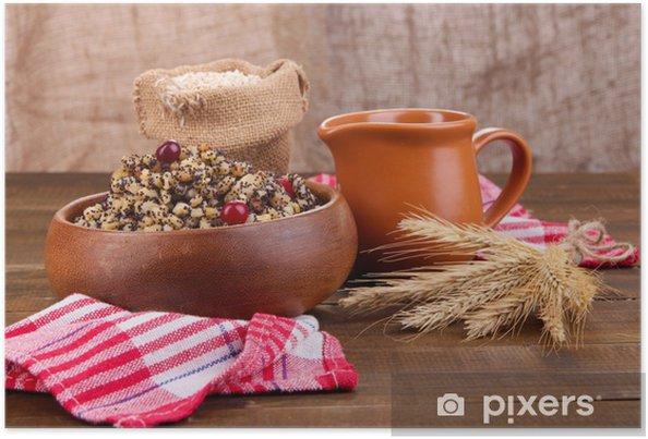 Plakat Płytka z kutia - tradycyjny słodki posiłek w Boże Narodzenie - Zboża i płatki