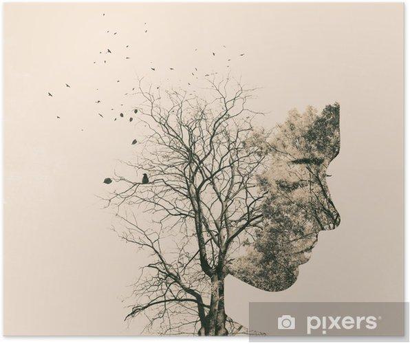 Plakat Podwójny portret narażenia młodej kobiety i jesiennych drzew. - Ludzie