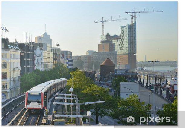 Plakat Podwyższone Pociąg na porcie Hamburg - Europa