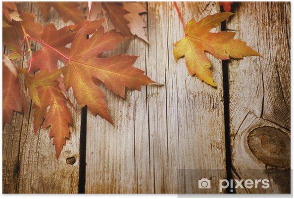Plakát Podzimní listí na dřevěné pozadí s kopií vesmíru - Pozadí