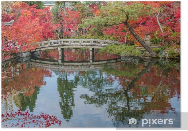 Plakát Podzimní listí na kamenný most v Kjótu, Japonsko - Roční období