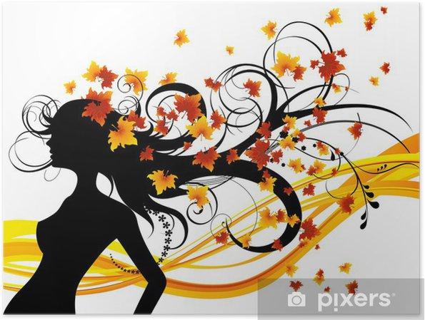 Plakát Podzimní účes na bílém pozadí, vektorové ilustrace - Roční období