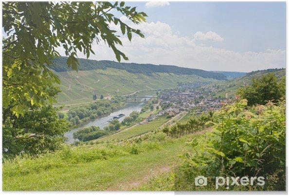 Plakát Pohled na údolí Mosely a řeky Mosely v letní den, Německo - Evropa