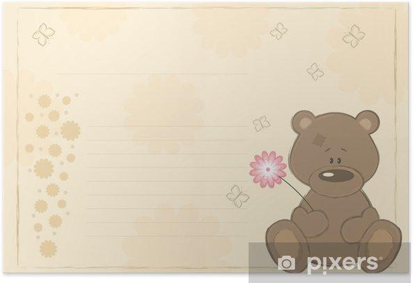 """Plakát Pohlednice """"medvídek s květem"""", vektorové ilustrace - Mezinárodní svátky"""