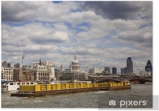 Plakat Pojemnik łodzi na Tamizie - Miasta europejskie