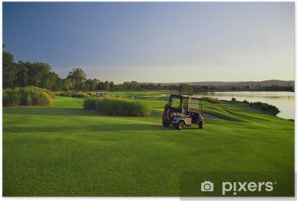 Plakat Pole golfowe i buggy - Sporty indywidualne