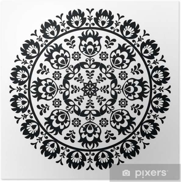 Plakat Polish folk art pattern in circle - wzory lowickie, wycinanki - Naklejki na ścianę