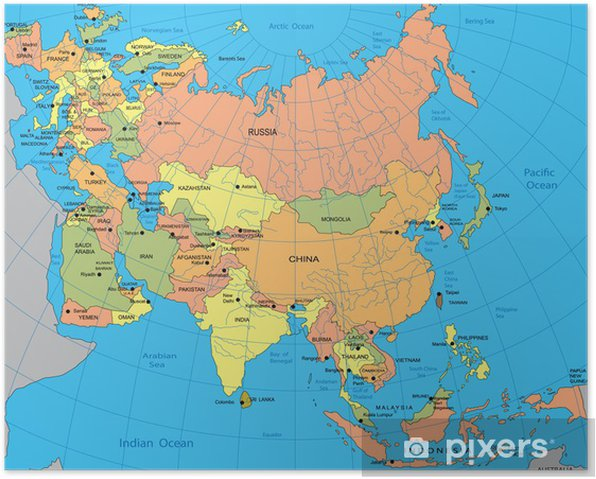Plakat Polityczna Mapa Eurazji Pixers Zyjemy By Zmieniac