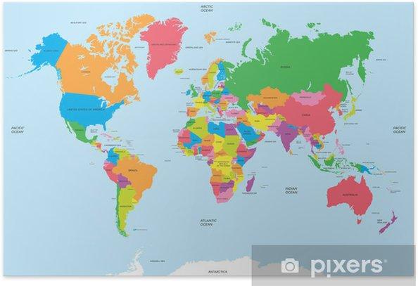 Plakat Polityczna mapa świata wektor - Tematy