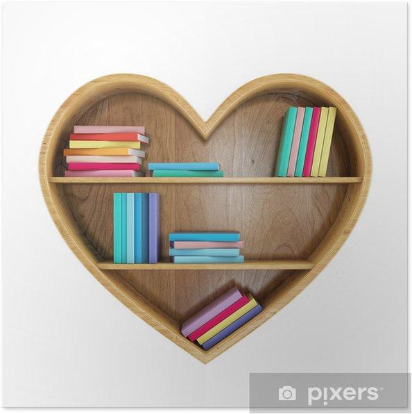 Plakat Półka Książki W Kształcie Serca Z Kolorowych Książek Serce Wiedzy