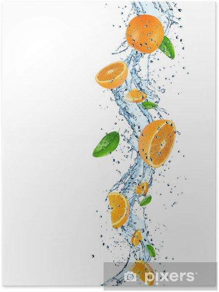 Plakat Pomarańcze z plusk wody - Posiłki