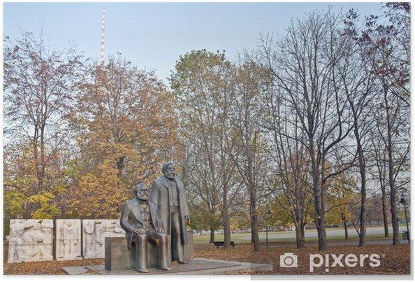 Plakat Pomnik Karola Marksa i Fryderyka Engelsa w Berlinie, Niemcy - Miasta europejskie