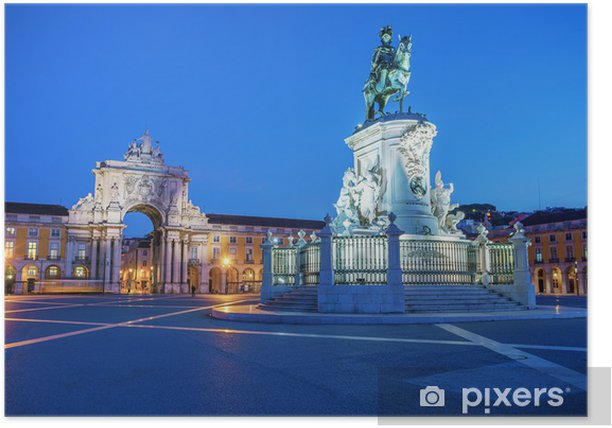 Plakat Pomnik króla Jože I w wieczornym oświetleniu - Miasta europejskie