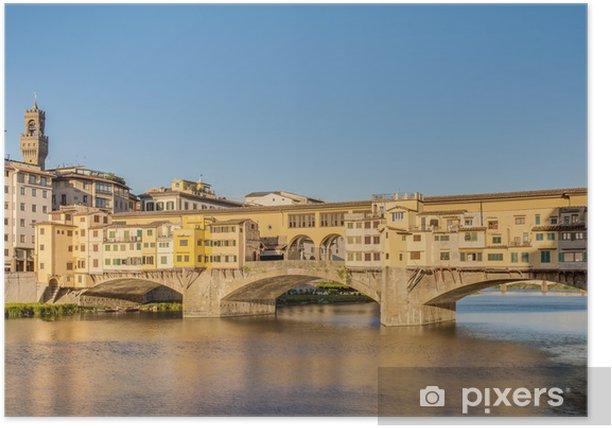 Plakat Ponte Vecchio (Stary Most) w Florencja, Włochy. - Europa