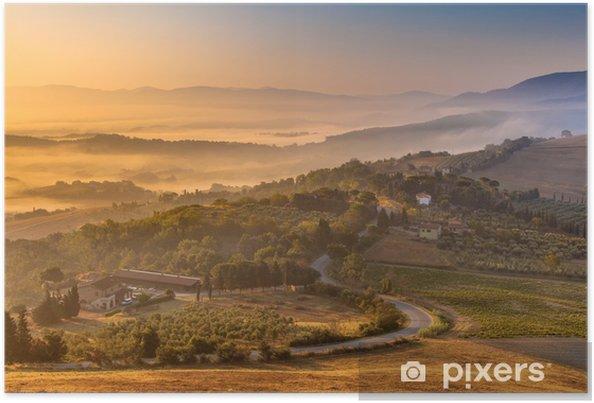 Plakat Poranna mgła nad Toskanii terenów wiejskich - Europa