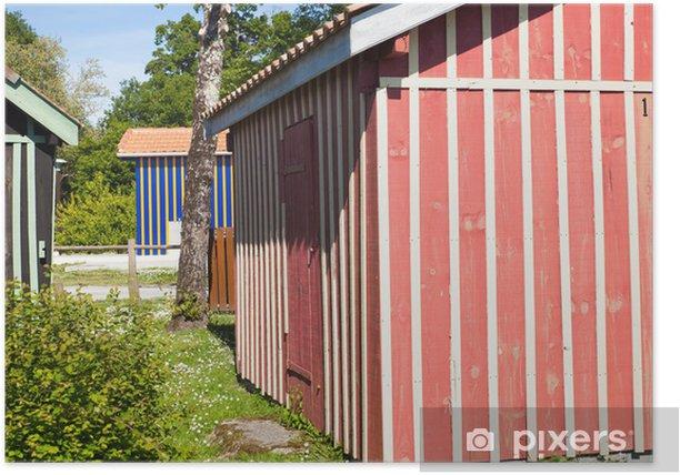 Plakat Port Biganos z jego typowych domów i chat - Dom i ogród