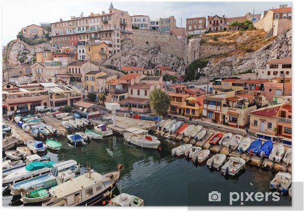 Plakat Port jachtowy w starym mieście w Marsylii, we Francji - Europa