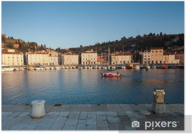 Plakat Port w Piran na zachodzie słońca, Słowenia, Europa - Europa