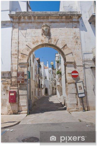 Plakat Porta Barsento. Putignano. Apulia. Włochy. - Wakacje