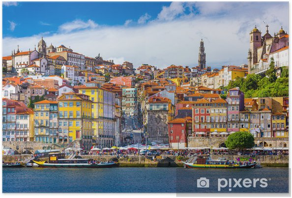 Plakat Porto, Portugalia Old City Skyline na rzece Douro - iStaging