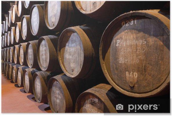 Plakat Portowe wieku wina w beczkach w piwnicy - Europa