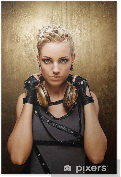 Plakat Portret atrakcyjna dziewczyna punk pary ze słuchawkami - Moda