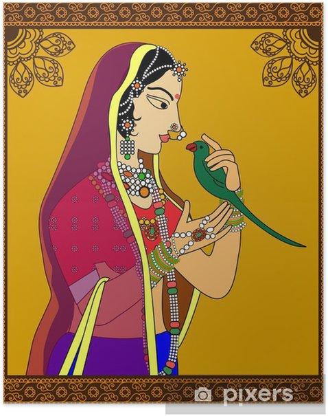 Plakat Portret Indian Queen / princess -inspired przez 16 wieku Indie Rajput stylu sztuki. - Ludzie