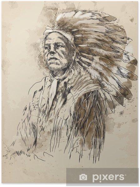 Plakát Portrét indiánského náčelníka - Ruční kresba do vektoru - Jiné pocity
