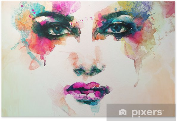 Plakat Portret kobiety .abstract tle akwarela .fashion - Ludzie