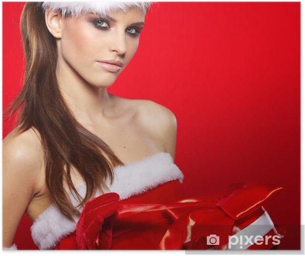 441cffa00 Plakát Portrét krásné sexy dívka, která nosí santa claus oblečení ...