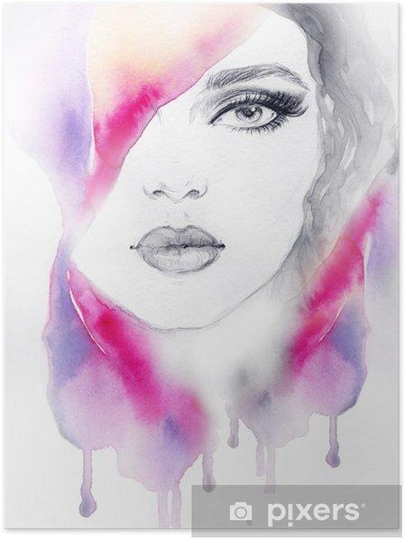Plakát Portrét ženy .abstract akvarel .fashion pozadí - Styly