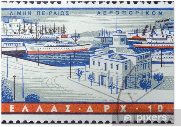 Plakat Portu w Pireusie (Grecja 1958) - Europa