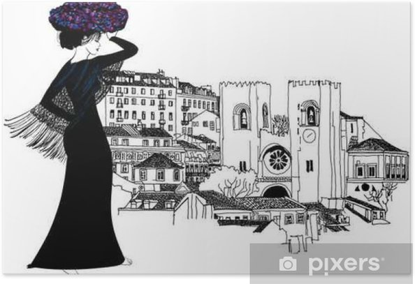 Plakat Portugalski kobieta z koszem kwiatów na głowie - Ludzie