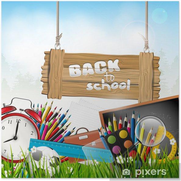 Plakat Powrót do szkoły - tło wektor - Przeznaczenia