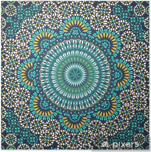 Plakat Powtarzalne deseń w stylu mozaiki etnicznej. - Mozaika