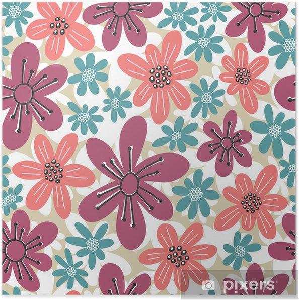 Plakat Powtarzalne kwiatowy wzór - Tła