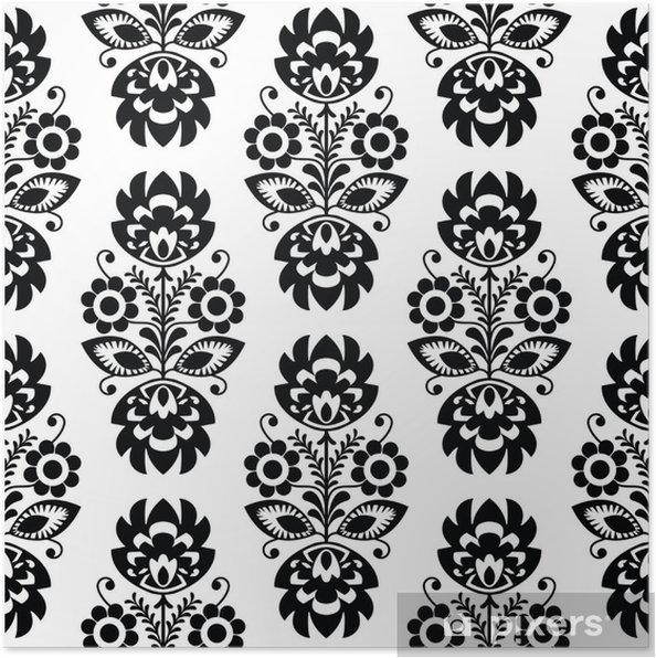 Plakat Powtarzalne wzór tradycyjnych kwiatów polski - pochodzenie etniczne - Style