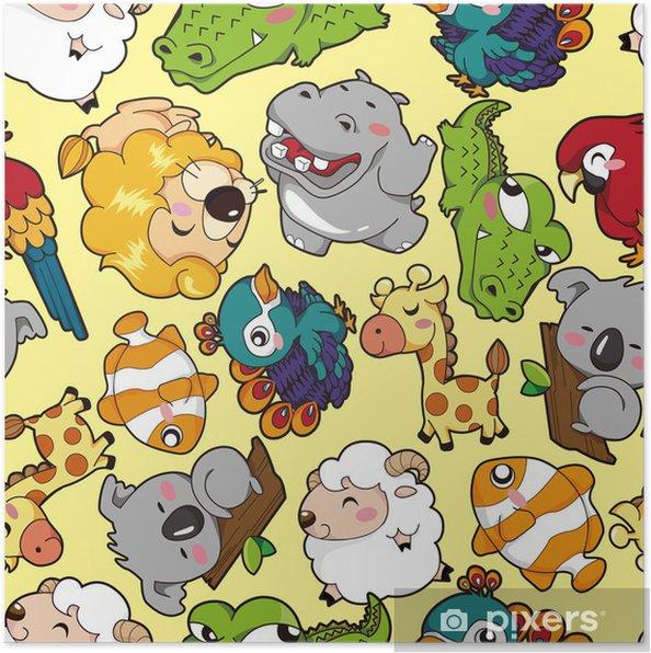 Plakat Powtarzalny deseń zwierząt - Tła