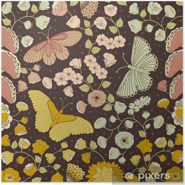 Plakát Pozadí květinový vzor - Ostatní Ostatní