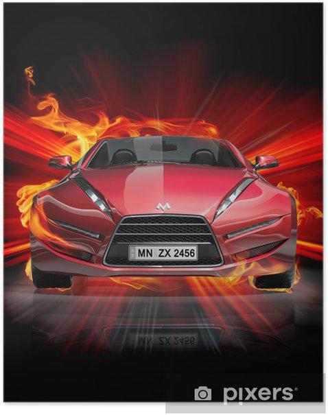 Plakat Pożar samochodu -